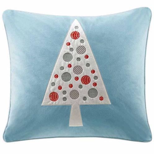 Madison Park Velvet Novelty Tree Square Throw Pillow