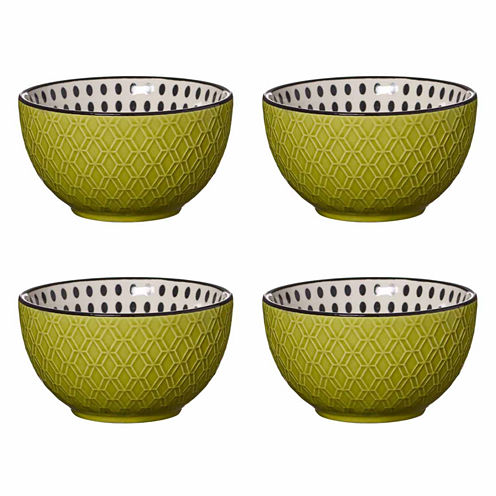 Pfaltzgraff Lemongrass Black Dot Set of 4