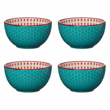 jcpenney.com | Pfaltzgraff Aqua Red Dot Set 0F 4
