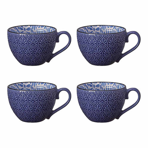 Pfaltzgraff Blue Peony Print Set of 4 Coffee Mugs