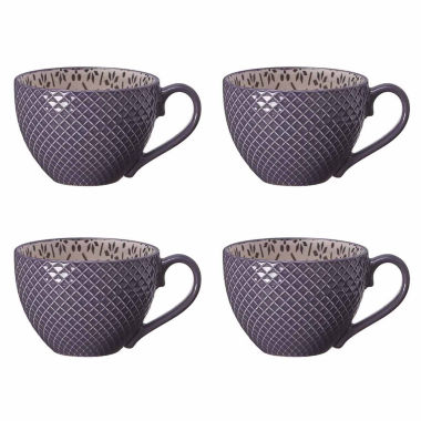 jcpenney.com | Pfaltzgraff Charcoal Grey Flower Set of 4