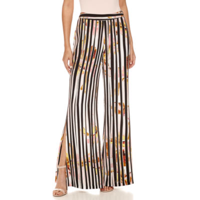 Bisou Bisou Pattern Palazzo Pants with Side Slits