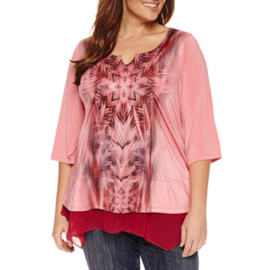 jcpenney.com | Unity World Wear 3/4 Sleeve Chiffon  Layered Top Plus