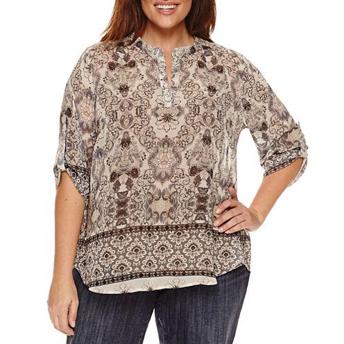 Unity World Wear 3/4 Sleeve V Neck Woven Mandarin Blouse-Plus