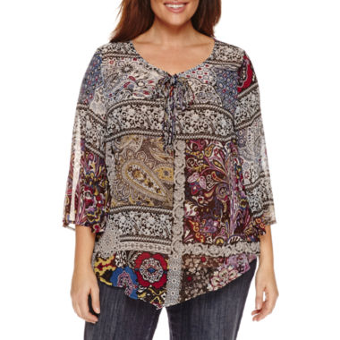 jcpenney.com | Unity World Wear 3/4 Sleeve V Neck Woven Peasant Blouse-Plus