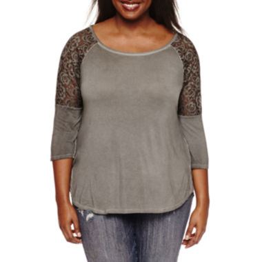 jcpenney.com | Arizona 3/4 Lace Sleeve Tee
