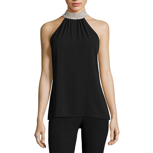 Worthington Sleeveless Mock Neck Woven Blouse-Talls