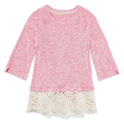 Arizona Crew Neck 3/4 Crochet Hem Hacci Top Sleeve Blouse - Girls' 7-16 and Plus