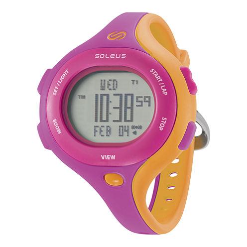 Soleus Chicked Womens Pink and Orange Digital Running Watch