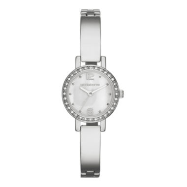 jcpenney.com | Liz Claiborne® Womens Silver-Tone & Crystal-Accent Bangle Watch