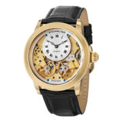 Stührling® Mens Gold-Tone Skeleton Inset-Dial Automatic Watch