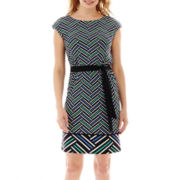 Worthington® Cap-Sleeve Tie-Belt Dress - Petite