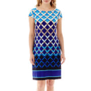 Jessica Howard Cap-Sleeve Geo-Print Dress - Petite