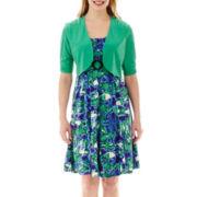 Perceptions Elbow-Sleeve Floral Print Jacket Dress - Petite