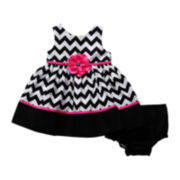 Youngland® Chevron Dress and Diaper Cover – Girls 3m-24m