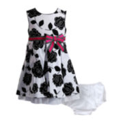 Youngland® Floral Dress and Diaper Cover - Girls 3m-24m