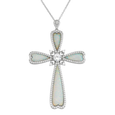 jcpenney.com | Lab-Created Opal and Cubic Zirconia Cross Pendant Necklace