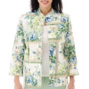 Alfred Dunner® Tivoli Gardens 3/4-Sleeve Floral Crinkle Jacket