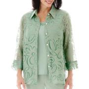 Alfred Dunner® Tivoli Gardens 3/4-Sleeve Burnout Layered Shirt