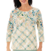 Alfred Dunner® Tivoli Gardens 3/4-Sleeve Floral Knit Top
