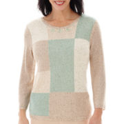 Alfred Dunner® Tivoli Gardens 3/4-Sleeve Colorblock Sweater