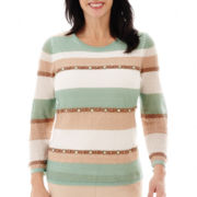 Alfred Dunner® Tivoli Gardens 3/4-Sleeve Biadere-Striped Layered Sweater