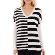 Worthington® Long-Sleeve V-Neck Striped Sweater