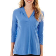 Worthington® 3/4-Sleeve V-Neck Knit Top - Tall