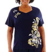 Alfred Dunner® Fresh Take Short-Sleeve Asymmetrical Floral Knit Top - Plus