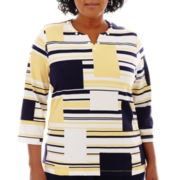 Alfred Dunner® Fresh Take 3/4-Sleeve Abstract Colorblock Top - Plus