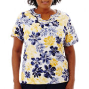 Alfred Dunner® Fresh Take Short-Sleeve Floral Knit Top - Plus