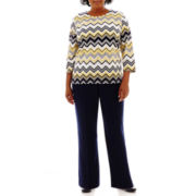Alfred Dunner® Fresh Take Biadere Zigzag Knit Top or Pull-On Pants - Plus