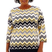 Alfred Dunner® Fresh Take 3/4-Sleeve Biadere Zigzag Knit Top - Plus