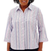 Alfred Dunner® Newport 3/4-Sleeve Embroidered Striped Shirt - Plus