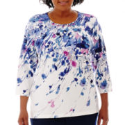 Alfred Dunner® Newport 3/4-Sleeve Watercolor Floral Knit Top - Plus