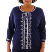 Alfred Dunner® Newport 3/4-Sleeve Embroidered-Center Knit Top - Plus