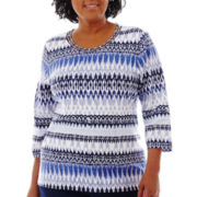 Alfred Dunner® Newport 3/4-Sleeve Ikat Biadere Knit Top - Plus