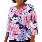 Alfred Dunner® Newport 3/4-Sleeve Floral Print Sweater - Plus
