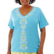Alfred Dunner® Hint of Lime Short-Sleeve Embroidered Knit Top - Plus