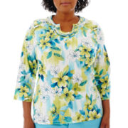 Alfred Dunner® Hint Of Lime 3/4-Sleeve Abstract Floral Top - Plus