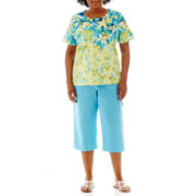 Alfred Dunner® Hint Of Lime Falling Leaves Top or Pull-On Capris - Plus