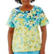 Alfred Dunner® Hint of Lime Short-Sleeve Falling Leaves Top - Plus