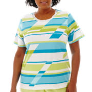 Alfred Dunner® Hint of Lime Short-Sleeve Broken-Stripe Top - Plus