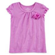 Okie Dokie® Short-Sleeve Flower Tee - Toddler Girls 2t-5t