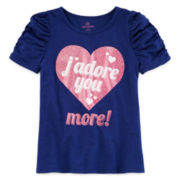 Okie Dokie® Short-Sleeve Ruched Tee - Girls 4-6x