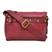 Great American Leatherworks® Leather Croc-Embossed East/West Crossbody Bag