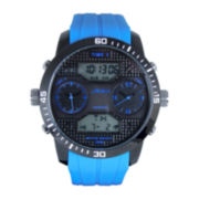 ADM Sport Twin Cities Mens Blue Silicone Strap Analog Digital Watch