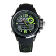 ADM Sport Twin Cities Mens Green Silicone Strap Analog Digital Watch
