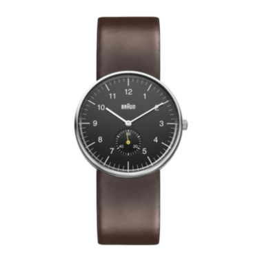 jcpenney.com | Braun Mens Black Dial Brown Leather Strap Automatic Watch