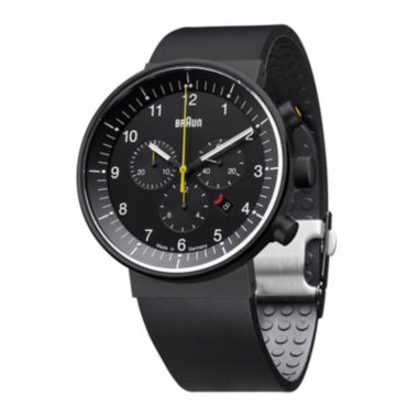jcpenney.com | Braun Prestige Mens Black Silicone Strap Chronograph Automatic Watch